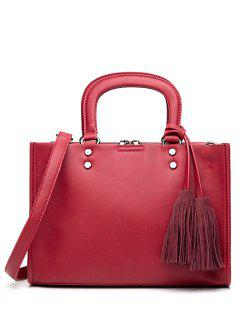 Metal Tassels Magnetic Closure Tote Bag - Red