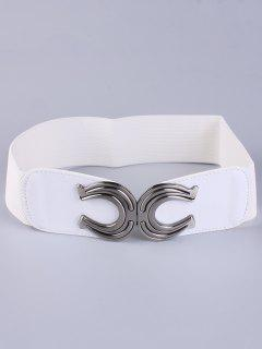 X Shape Buckle Elastic Belt - White