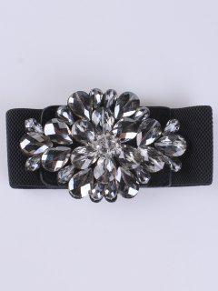 Faux Crystal Elastic Wide Belt - Black