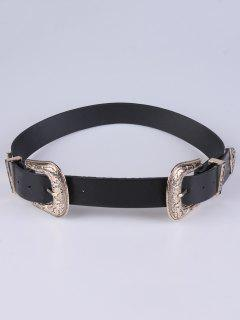 PU Double Pin Buckle Belt - Golden