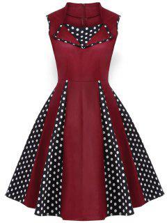 Vintage Sleeveless Polka Dot Dress - Burgundy S