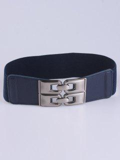 PU De La Aleación Elástico Ancho Cinturón - Azul Profundo