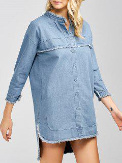 High-Low Denim Dress - Light Blue Xl