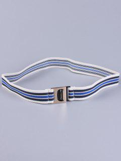 Striped Elastic Wide Belt - Blue