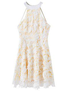 Floral Applique Lace Skater Dress - White M
