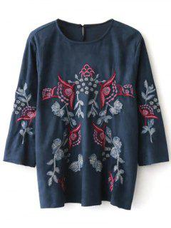 Faux Suede Embroidered Blouse - Purplish Blue S