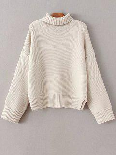 Oversized Turtle Neck Sweater - Off-white