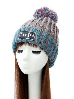 Stripy Pom Ball Flanging Knitted Beanie - Gray