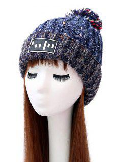 Stripy Pom Ball Flanging Knitted Beanie - Blue