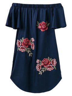 Fuera Del Hombro Floral Mini Vestido - Azul Marino  S