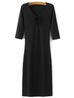 Lace-Up Knitting Dress - Black M