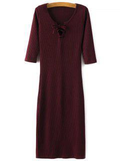 Lace-Up Knitting Dress - Wine Red M