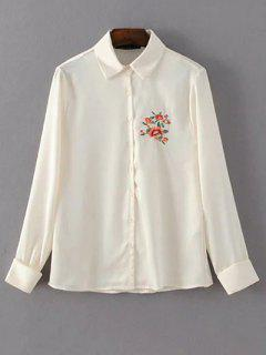 Slimming Embroidered Shirt - Off-white S