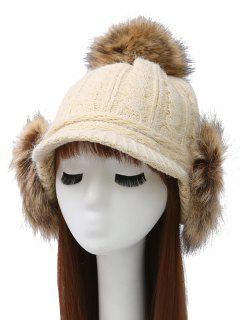 Pom Ball Hemp Flowers Knitted Hat - Beige