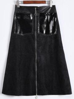 Midi-Jupe Zippée En Cuir Artificiel  - Noir S