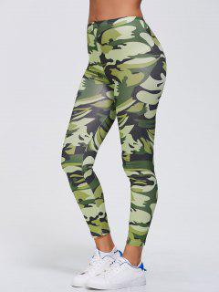 Stretchy Camo Print Sports Leggings - Green Xl