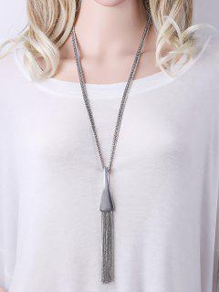 Alloy Chain Tassel Pendant Necklace - Silver