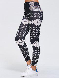 Stretchy Printed Sports Leggings - Black Xl