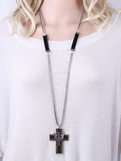 Collar Pendiente De La Cruz Del Rhinestone Doble - Plata