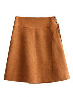 Faux Suede A-Line Mini Skirt - Brown L