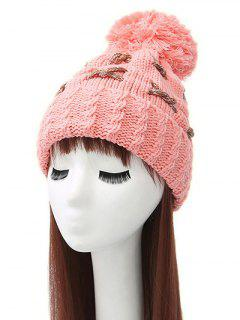 Criss Cross Pom Ball Knitted Beanie - Pink
