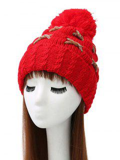 Criss Cross Pom Ball Knitted Beanie - Bright Red