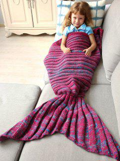 Kintted Kids Wrap Mermaid Tail Blanket - Blue And Red M