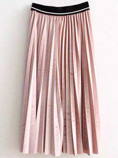 De Cintura Alta Falda Plisada Velour - Rosa