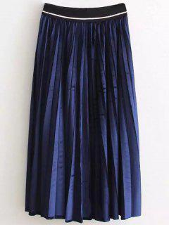De Cintura Alta Falda Plisada Velour - Azul Purpúreo