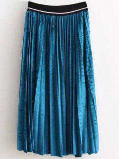 High Waist Pleated Velour Skirt - Lake Blue