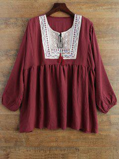 Tunic Baggy Blouse - Wine Red 2xl