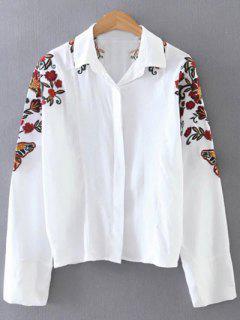 Chemisier Casual Imprimé Fleurs - Blanc S