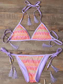 Halter Lace Patch String Bikini - Purple S