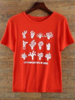 T-shirt Col Rond à Manches Courtes Imprimé Plantes - Rouge S