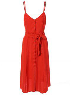 Belted Single-Breasted Slip Dress - Jacinth S