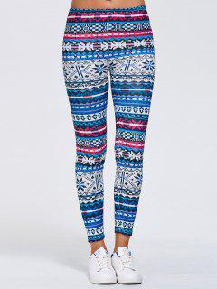 Slimming Fair Isle Stretchy Leggings - Blue Xl