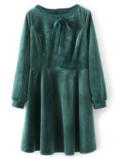 Bowknot Col Rond Robe Smockée - S