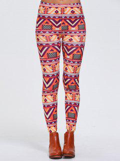 Stretchy Geometric Printed Sports Leggings - Orangepink Xl