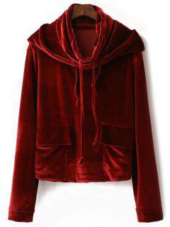 String Velour Hoodie - Wine Red S