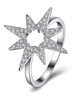 Flower Star S925 Diamond Ring - Silver 8