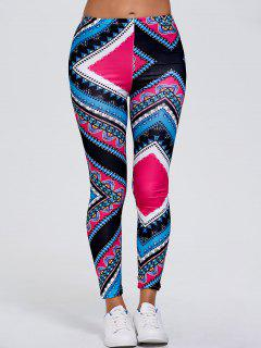 Slimming Tribal Print Stretchy Leggings - Rose Red Xl