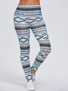 Tribal Printed Stretchy Slimming Leggings - White Xl