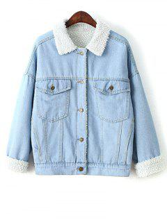 Faux Shearling Pockets Denim Coat - Light Blue L