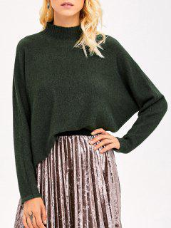 Mock Neck Dolman Sleeve Boyfriend Sweater - Army Green