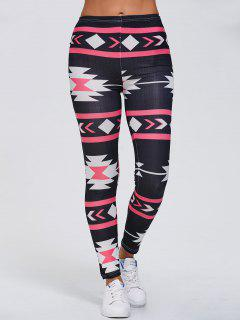 Stretchy Geometric Printed Gym Leggings - Black Xl