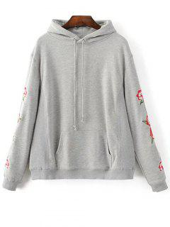 Floral Embroidered Big Pocket Hoodie - Gray S