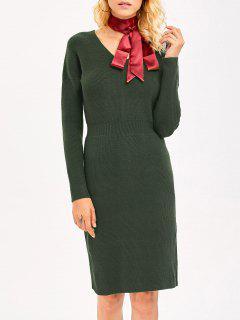 Knitted High Waist Pencil Dress - Army Green