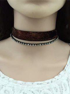 Rhinestoned Velvet Choker Necklace Set - Brown