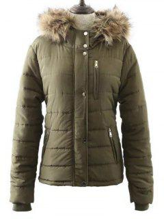 Fur Hooded Zipper Pocket Quilted Coat - Army Green S