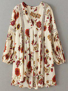 Floral High-Low Mini Tunic Dress - Beige S
